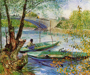 Fishing in Spring by Vincent van Gogh Giclee Canvas Print Repro