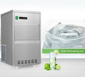 Combo 60lbs24h Ice Maker Clear Bullet Counter Portable Stainless Steel Machine