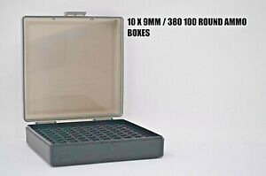 9 mm380 Ammo cases  boxes (10 PACK) SMOKE color 1000 rnds of storage 9 mm.380