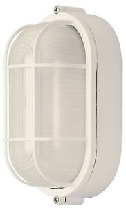 All Weather Outdoor Bulkhead Oval Marine Exterior Light Frosted Glass White
