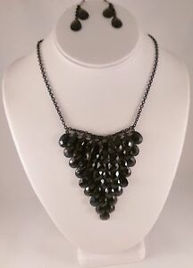 Black Bead Plunge Necklace and Earring Set
