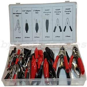 60 Pc Alligator Clip Assortment Set Test Lead Electrical Battery Clamp Connector