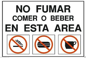Spanish No Fumar Eating or Drinking OSHA Safety Sign Sticker Label D201