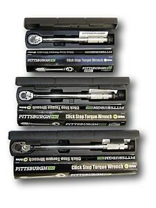 Set of 3 Pro Reversible Click Type Torque Wrench Sizes 1 4quot; 3 8quot; 1 2quot;
