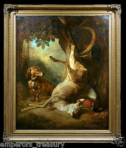 Large Hunting Oil Painting Circle of Jean Baptiste Siméon Chardin (French)
