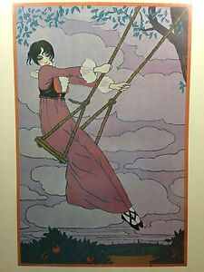 Vintage GEORGE LEPAPE Girl On A Swing Portal Publications Lithograph Poster $125.00