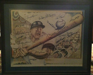 Framed Lithograph One of a Kind with 16 Baseball Hall of Fame Autographs