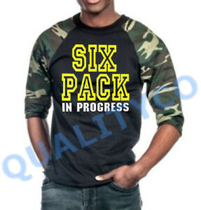 Men's Six Pack In Progress Camo Baseball Raglan T Shirt Tee Army Workout Gym MMA