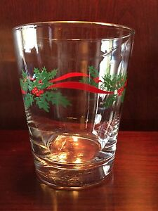 Lovely Gold Trimmed Christmas Glass Tumbler