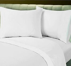 1 NEW COTTON BLEND HIGH QUALITY HOTEL BED LINEN WHITE PERCALE  FLAT SHEET T250