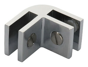 Chrome Anodized Aluminum Two-Way 90 Degree Glass Connector