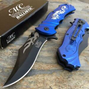 MASTER Collection Ballistic Lasered Dragon Fantasy Hunting Pocket Knife (PURPLE)