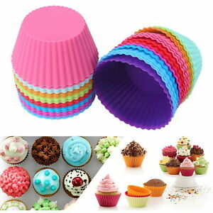 12PCS Soft Silicone Cake Muffin Chocolate Cupcake Bakeware Baking Cup Mold Mould