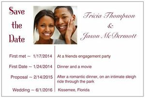 50 100 Personalized SPECIAL DATES UR PHOTO Font color Save the DATE Post CARDS