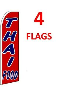 4 (four) THAI FOOD 11.5' SWOOPER #1 FEATHER FLAGS BANNERS