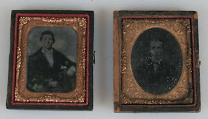 ANTIQUE PORTRAITS TINTYPE AND AMBROTYPE. 1 9TH PLATE HALF CASE. $39.85