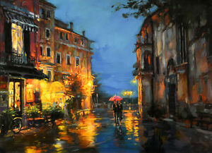 Canvas Print Oil painting Picture Rainy city street scene on canvas L713 $20.99