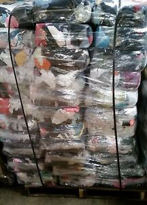 FULL SKID OF 10 lb. Compressed Bag of Colored T-Shirt Rags - 100 bags - 1000 Lb