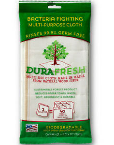 pack of 2 Wood Fiber WASH CLOTH Antimicrobial Odor Free Mold Resistant DuraFresh