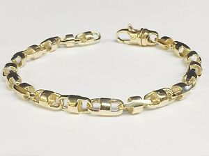 18k Solid Yellow Gold Anchor Bullet chain Bracelet 6.5 MM 24 grams  8