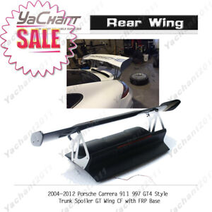 Carbon Blade w FRP Trunk For 04-12 Porsche Carrera 911 997 GT4-Style GT Wing