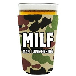 MILF, Man I Love Fishing Funny Pint Glass Coolie; Neoprene, Collapsible