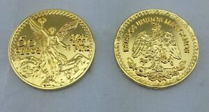 20 CENTENARIO COIN GOLD PLATED WITH PLASTIC HOLDER+free shipping+No Tax sell !!