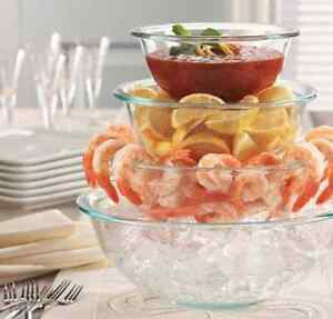 3x PYREX Clear Glass HEAT RESISTANT Mixing BOWL SET Batter Prep Salad Food Dish