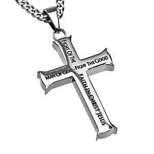 MAN OF GOD Cross Necklace Bible Verse 1 Timothy Stainless Steel Curb Chain