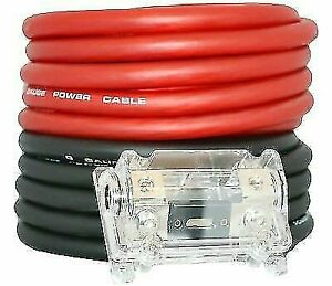 0 Gauge Wire Red Black Amplifier Amp Power Ground Cable 1 0 Set Free Fuse
