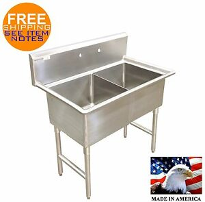 POT SINK 2 COMPARTMENT STAINLESS NSF HEAVY DUTY 16GA (NO DRAINBOARS) MADE IN USA