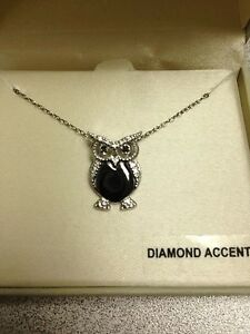 Fine Jewelry REAL Diamond Owl Necklace Sterling Silver And WhiteBlack Diamond