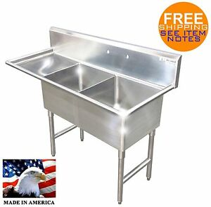 2 COMPARTMENT SINK LEFT DRAINBOARD STAINLESS S. NSF HEAVY DUTY 14GA MADE IN USA