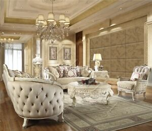 Baroque Carved Acanthus Medallion Pearl & Silver Leaf 3 Piece Sofa Set