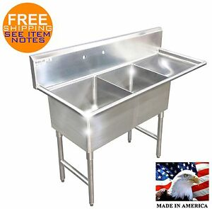 2 COMPARTMENT SINK RIGHT DRAINBOARD STAINLESS S. NSF HEAVY DUTY 14GA MADE IN USA