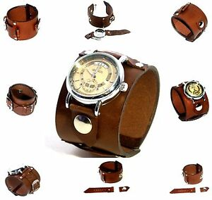 Brown Leather Wrist band Bracelet withwithout watch Steampunk GOTHIC Mechanical