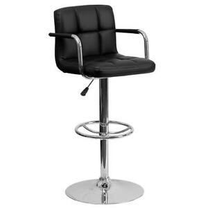 Black Quilted Vinyl Adjustable Height Bar Stool with Arms & Chrome Base