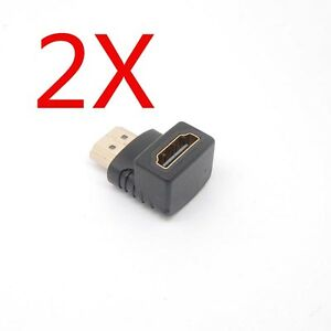 2pcs 90 Degree Right Angle HDMI Male to Female Plug Connector Adapter Extender $2.29