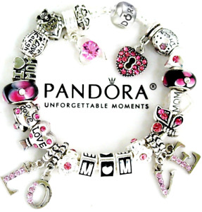 Authentic Pandora Bracelet 925 Silver MOM WIFE European Charms  Pink Black New