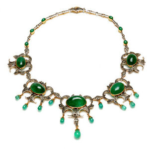 18k Solid Gold 8.5ct Pave Diamond Emerald Choker Necklace Wedding Gift Jewelry
