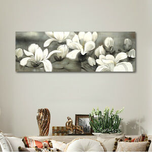Large Modern Canvas Print Paintings Pictures Wall Art Home Decor Floral Gray $49.99