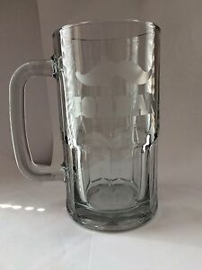 Personalized Etched Beer Mug With Mustache 20 Oz