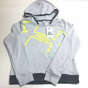 Under Armour UA Youth Girls Kids Varisty 1258898 Hoodie Sweatshirt Grey Green LG