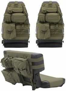 Smittybilt OD Green Front & Rear Seat Covers & 19 Pouches 76-06 Jeep CJ YJ TJ LJ