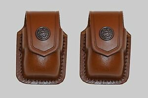 KM2037 Two Single Leather Speedloader Cases with belt clip S&W Magnum Handmade!