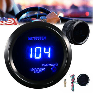 HOTSYSTEM 2 52mm Blue Digital LED Fahrenheit Water Temp Temperature Gauge Black
