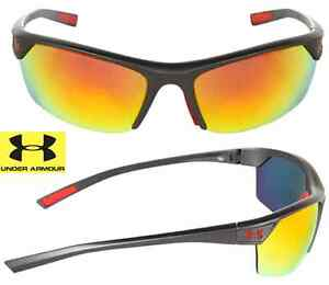 NEW* Under Armour ZONE BLACK Graphite Mirrored Orange Fire Lens Sunglass $140
