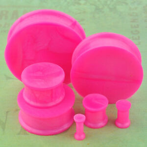 1 Pair Pearl Pink Soft Silicone Flexible Ear Plugs Gauges