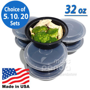 32oz Meal Prep 7quot; Round Food Containers with Lids Microwavable Plastic BPA free $22.50