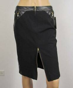 $1300 NWT STUNNING GIANNI VERSACE COUTURE BLACK PENCIL SKIRT IT44 US8